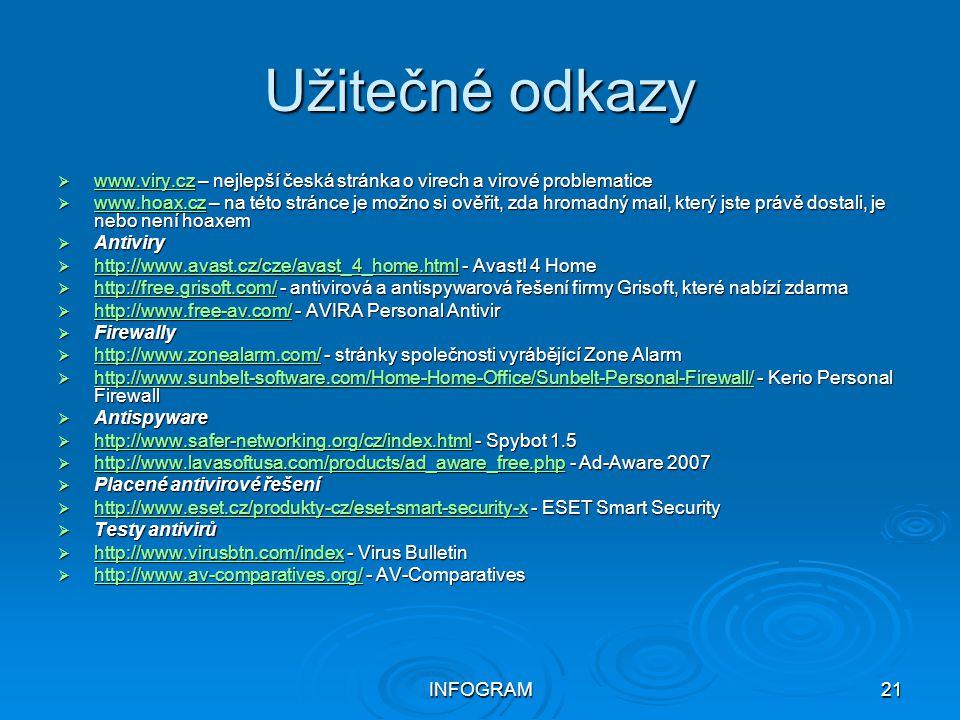 Užitečné odkazy www.viry.cz – nejlepší česká stránka o virech a virové problematice.