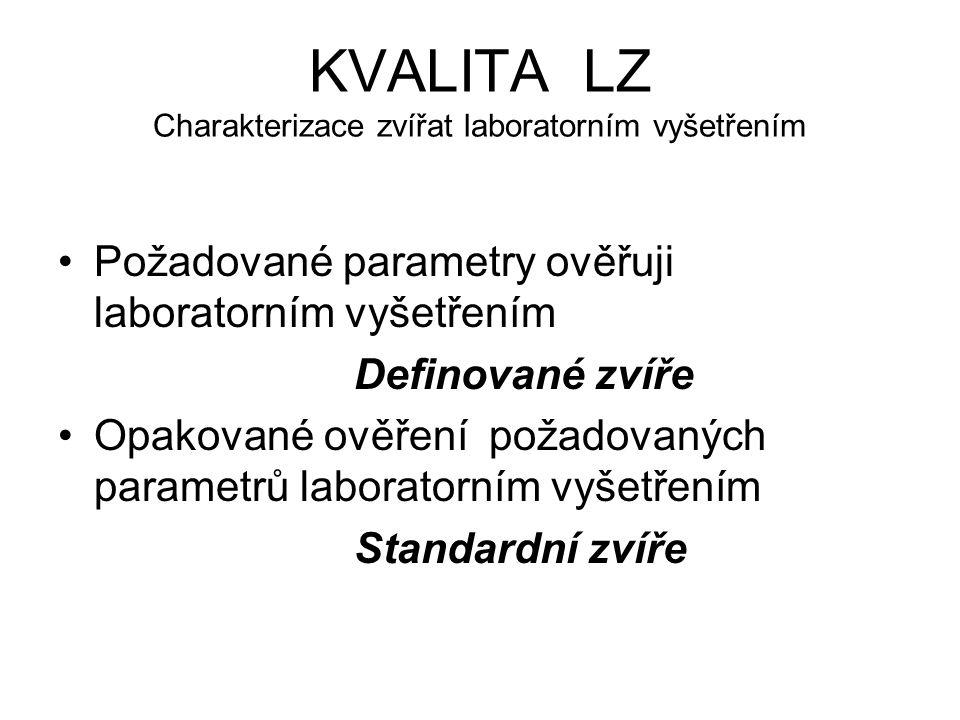 KVALITA LZ Charakterizace zvířat laboratorním vyšetřením