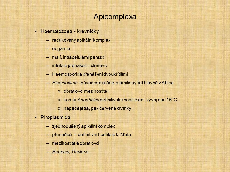 Apicomplexa Haematozoea - krevničky Piroplasmida