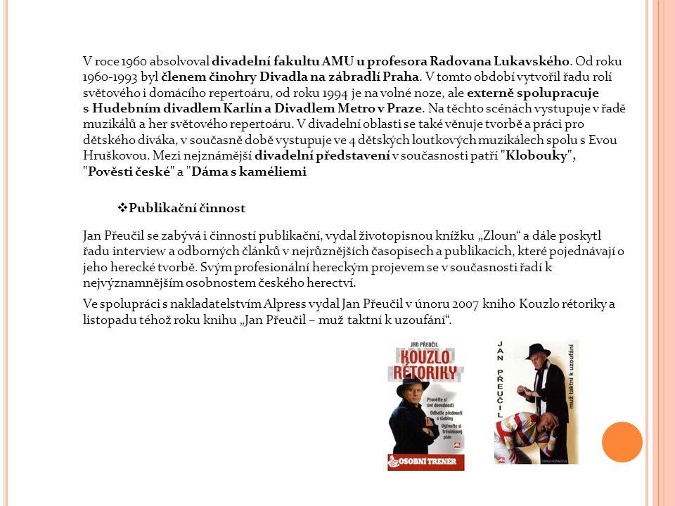 V roce 1960 absolvoval divadelní fakultu AMU u profesora Radovana Lukavského. Od roku 1960-1993 byl členem činohry Divadla na zábradlí Praha. V tomto období vytvořil řadu rolí světového i domácího repertoáru, od roku 1994 je na volné noze, ale externě spolupracuje s Hudebním divadlem Karlín a Divadlem Metro v Praze. Na těchto scénách vystupuje v řadě muzikálů a her světového repertoáru. V divadelní oblasti se také věnuje tvorbě a práci pro dětského diváka, v současně době vystupuje ve 4 dětských loutkových muzikálech spolu s Evou Hruškovou. Mezi nejznámější divadelní představení v současnosti patří Klobouky , Pověsti české a Dáma s kaméliemi