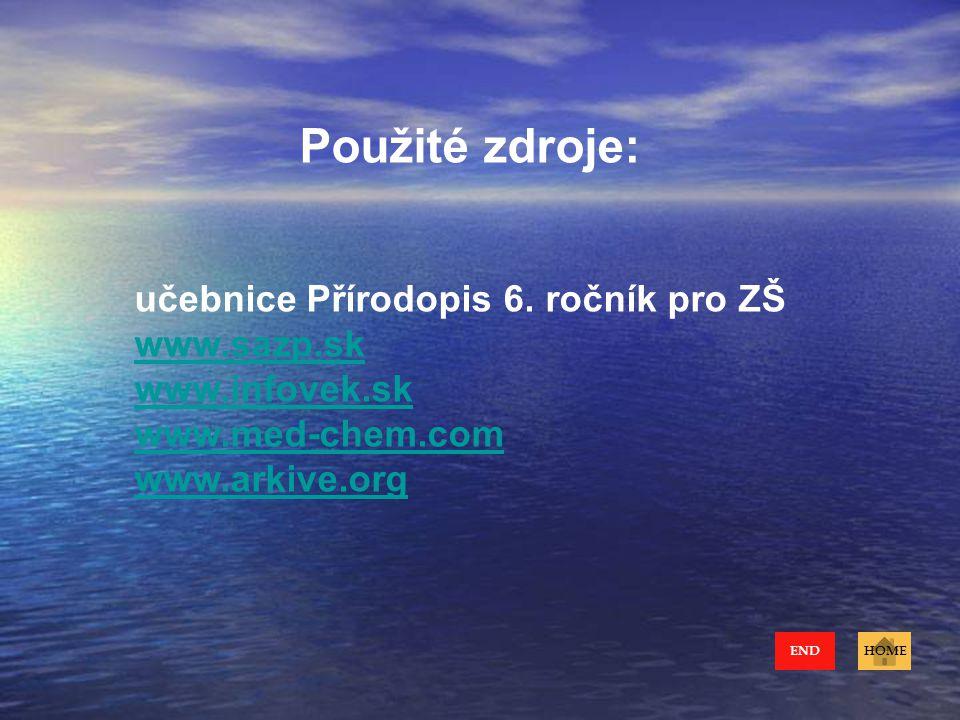 Použité zdroje: učebnice Přírodopis 6. ročník pro ZŠ www.sazp.sk