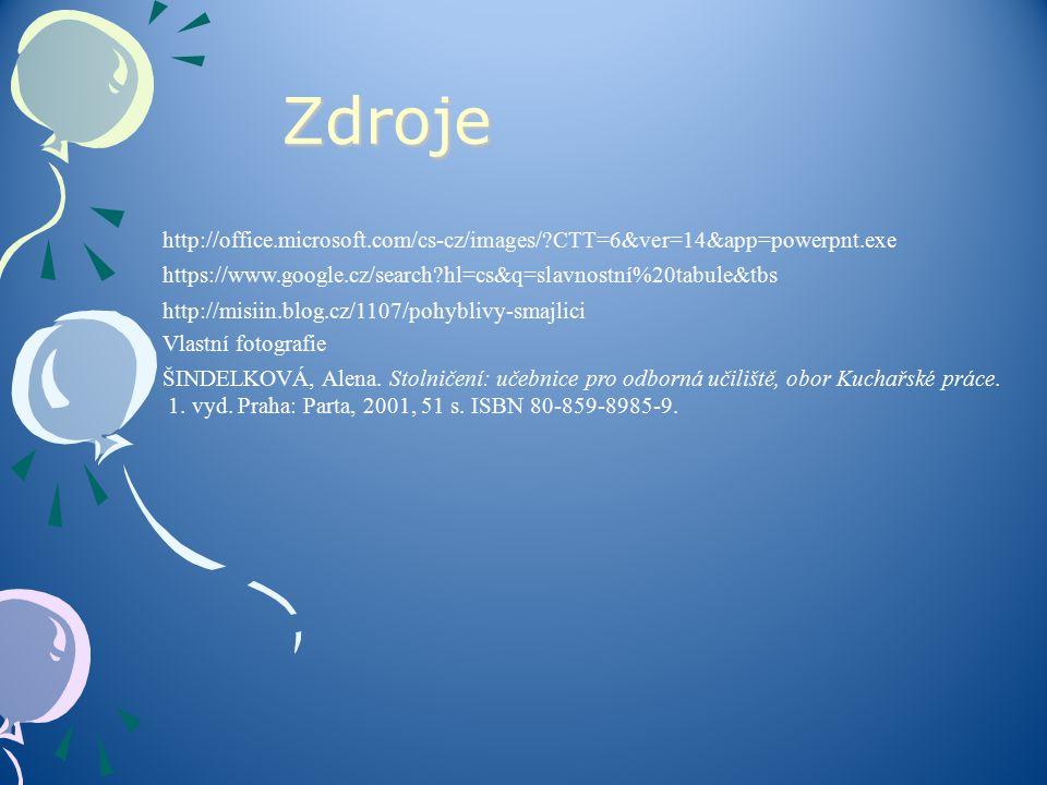 Zdroje http://office.microsoft.com/cs-cz/images/ CTT=6&ver=14&app=powerpnt.exe. https://www.google.cz/search hl=cs&q=slavnostní%20tabule&tbs.
