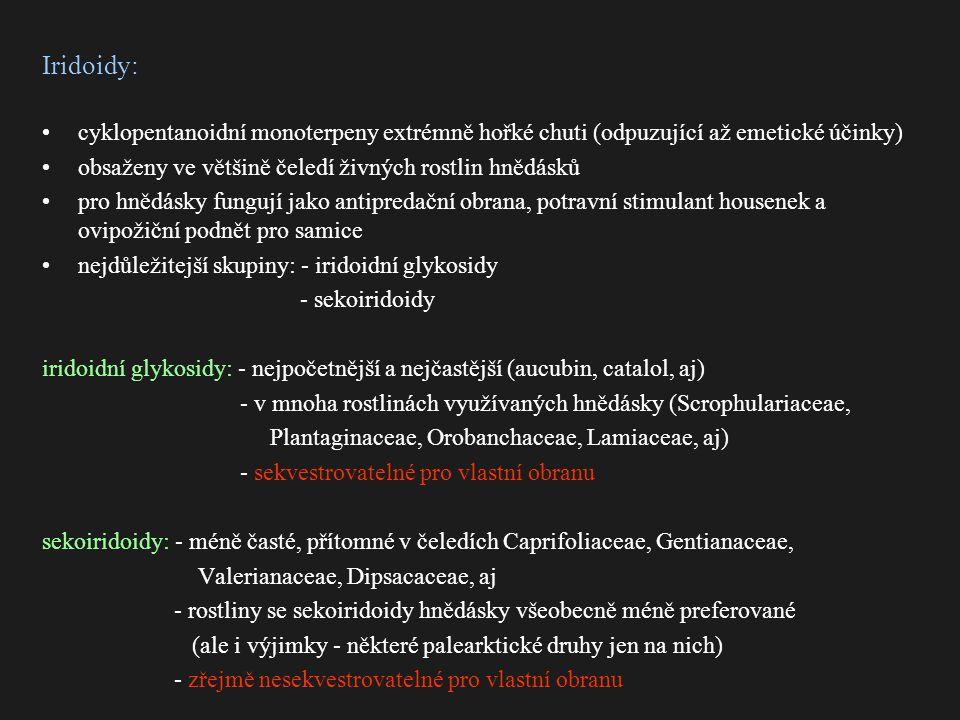 Iridoidy: cyklopentanoidní monoterpeny extrémně hořké chuti (odpuzující až emetické účinky) obsaženy ve většině čeledí živných rostlin hnědásků.