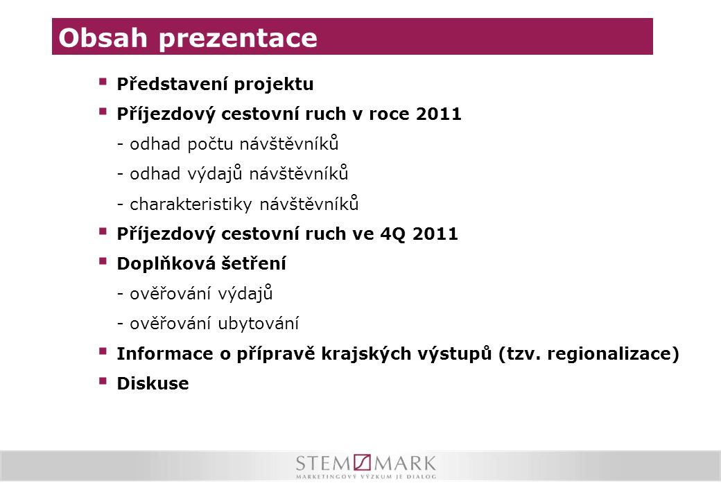 Obsah prezentace Představení projektu