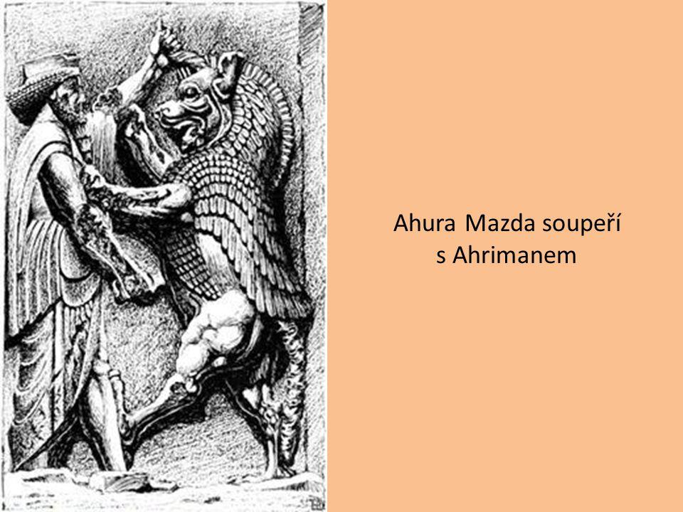 Ahura Mazda soupeří s Ahrimanem