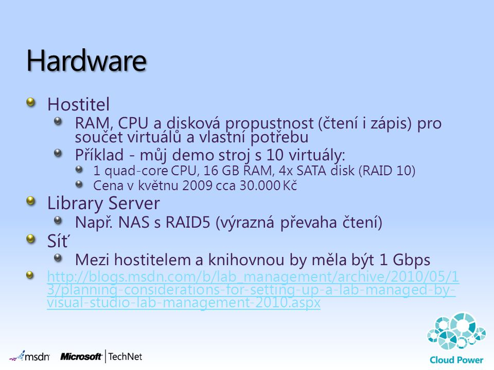 Hardware Hostitel Library Server Síť