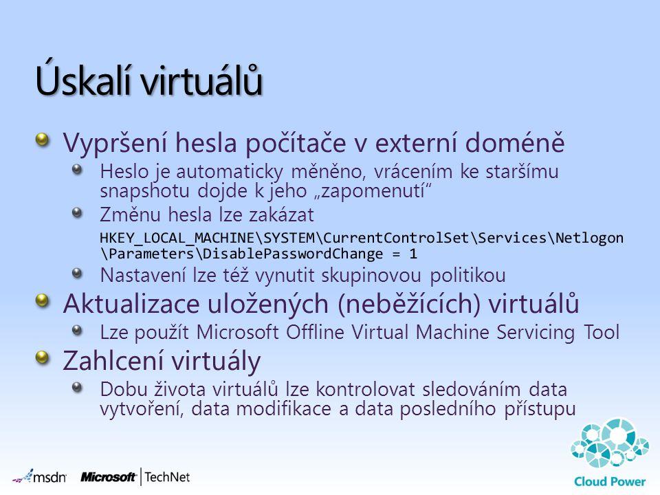 Úskalí virtuálů Vypršení hesla počítače v externí doméně