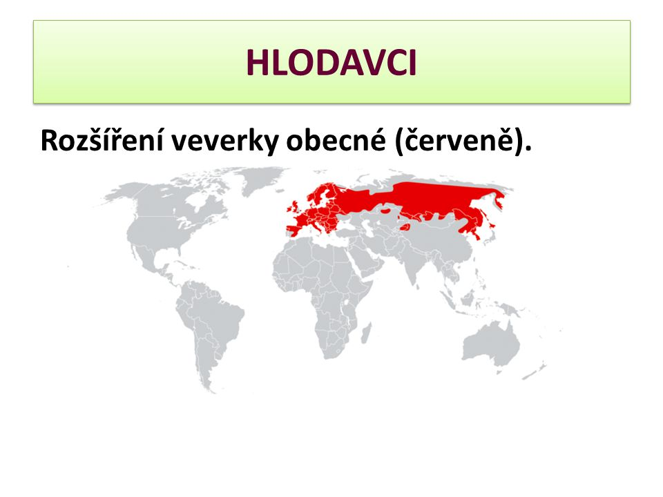 HLODAVCI Rozšíření veverky obecné (červeně).