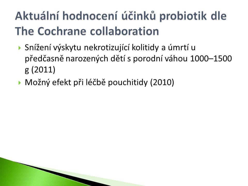 Aktuální hodnocení účinků probiotik dle The Cochrane collaboration