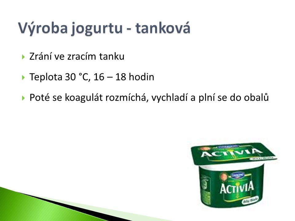 Výroba jogurtu - tanková