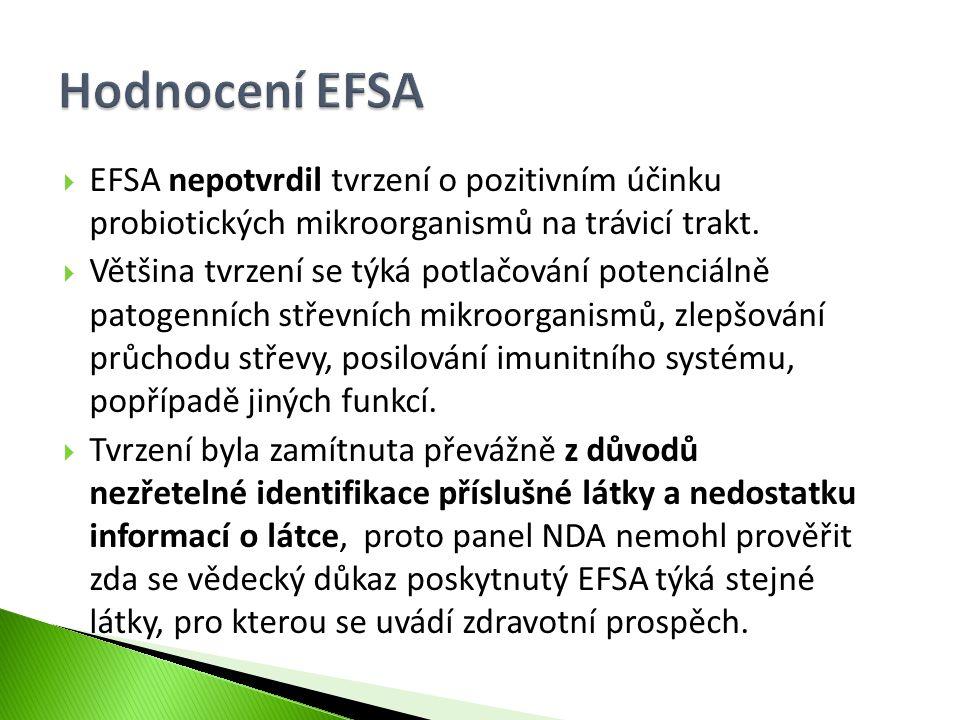 Hodnocení EFSA EFSA nepotvrdil tvrzení o pozitivním účinku probiotických mikroorganismů na trávicí trakt.