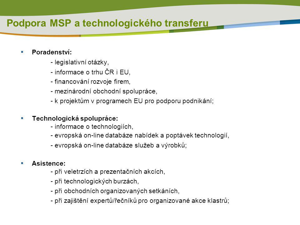 Podpora MSP a technologického transferu