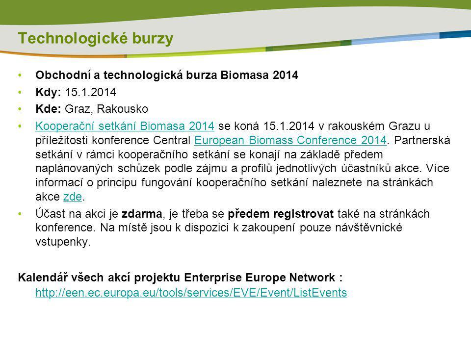 Technologické burzy Obchodní a technologická burza Biomasa 2014