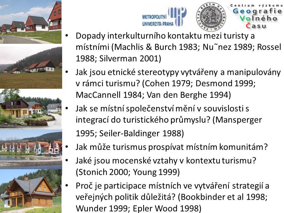 Dopady interkulturního kontaktu mezi turisty a místními (Machlis & Burch 1983; Nu˜nez 1989; Rossel 1988; Silverman 2001)
