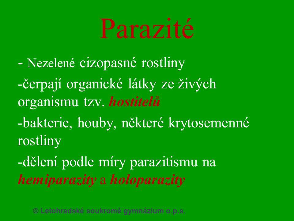 Parazité -čerpají organické látky ze živých organismu tzv. hostitelů