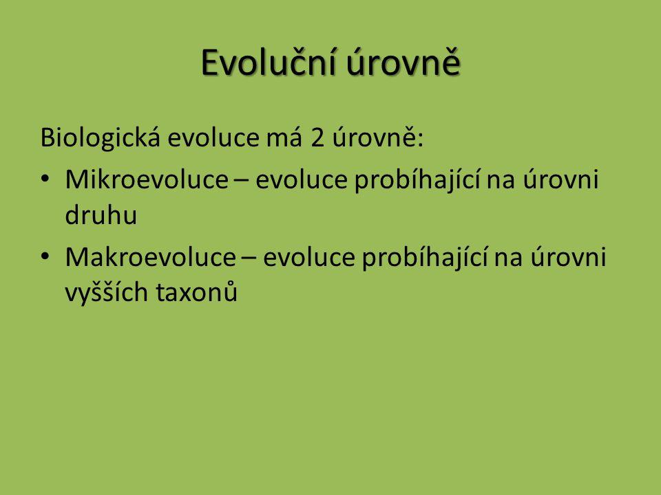 Evoluční úrovně Biologická evoluce má 2 úrovně: