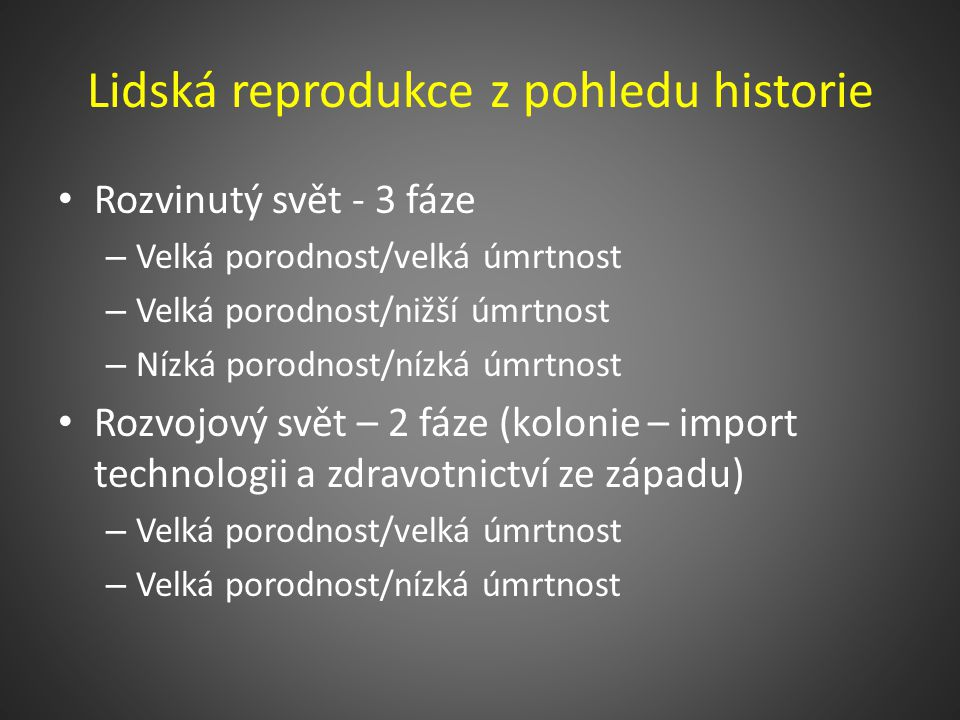 Lidská reprodukce z pohledu historie