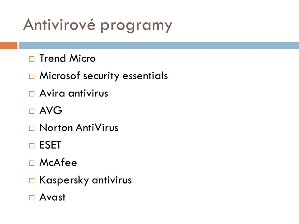 Antivirové programy Trend Micro Microsof security essentials