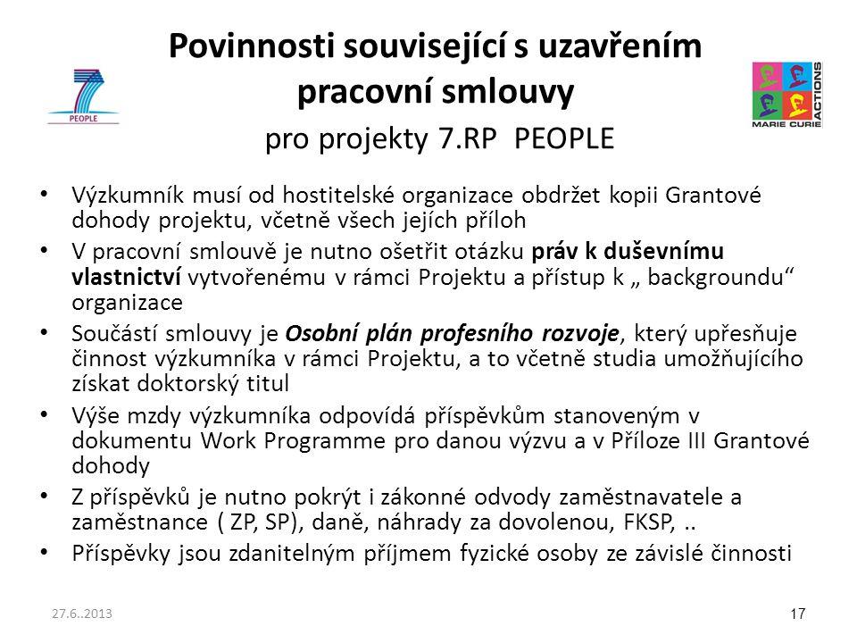 Povinnosti související s uzavřením pracovní smlouvy pro projekty 7