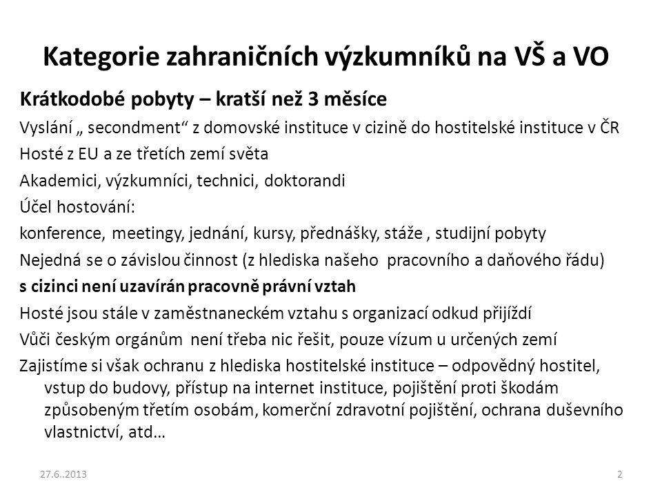 Kategorie zahraničních výzkumníků na VŠ a VO