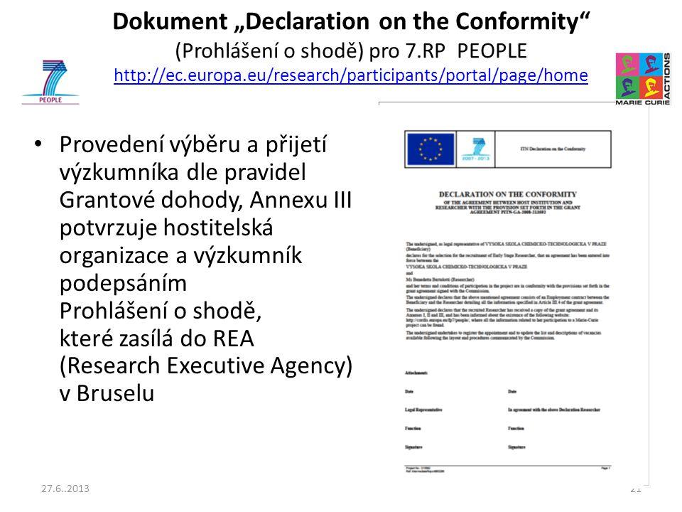"""Dokument """"Declaration on the Conformity (Prohlášení o shodě) pro 7"""