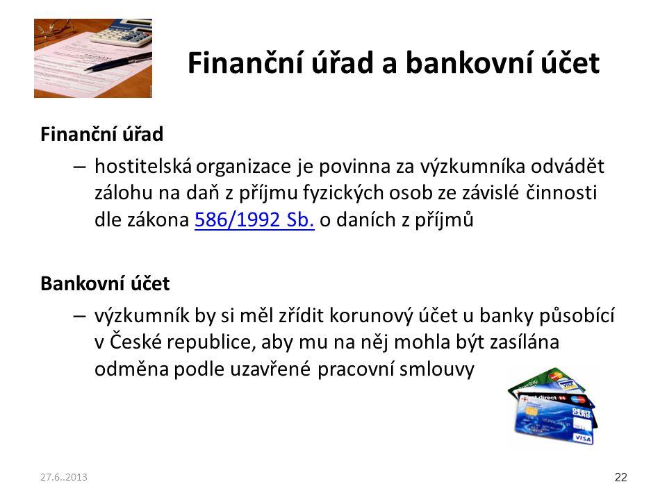 Finanční úřad a bankovní účet