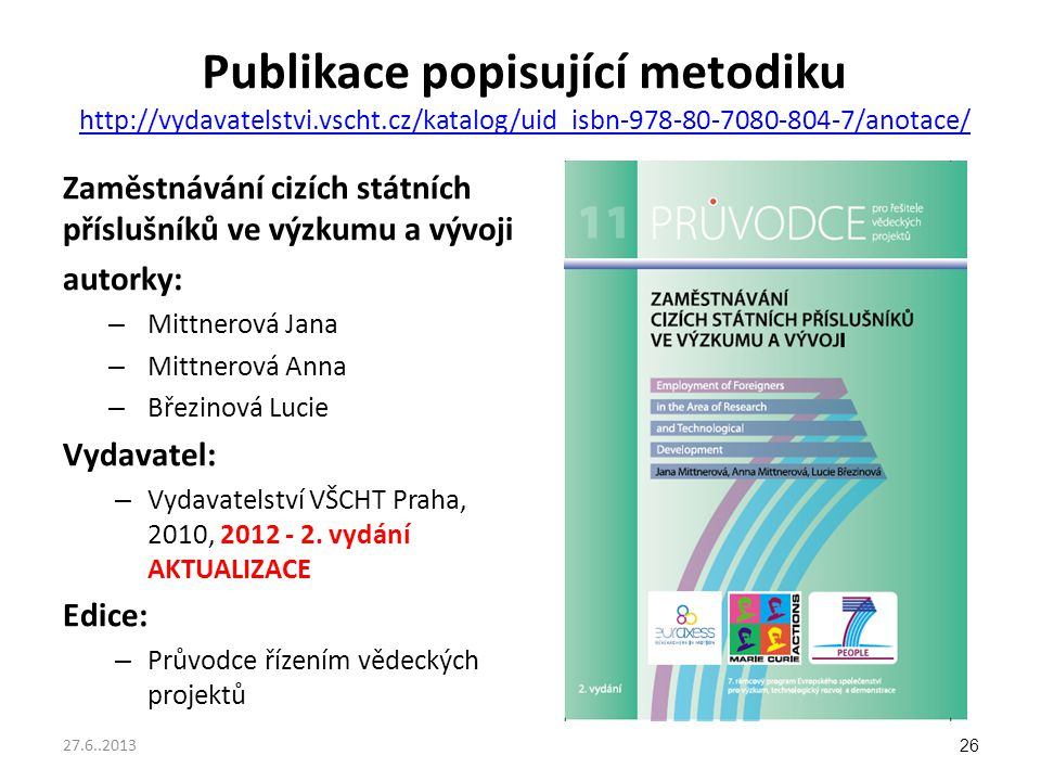Publikace popisující metodiku http://vydavatelstvi. vscht