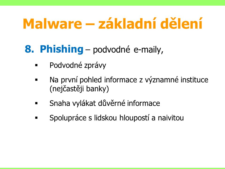 Malware – základní dělení