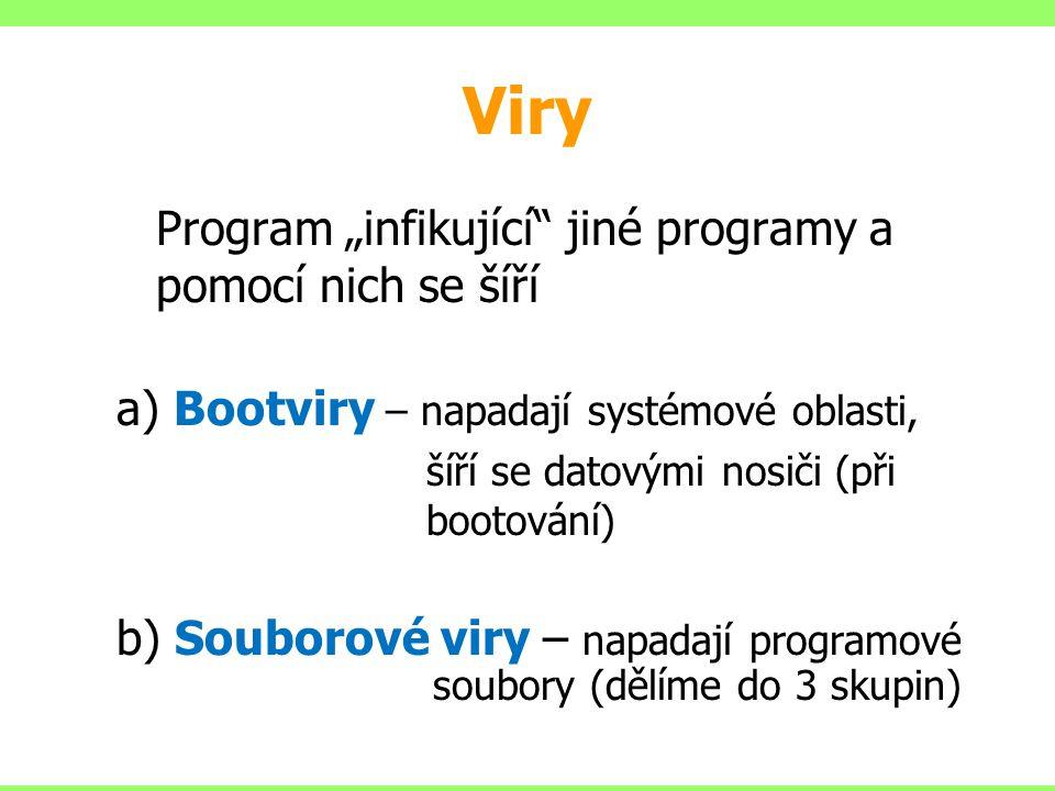 """Viry Program """"infikující jiné programy a pomocí nich se šíří"""