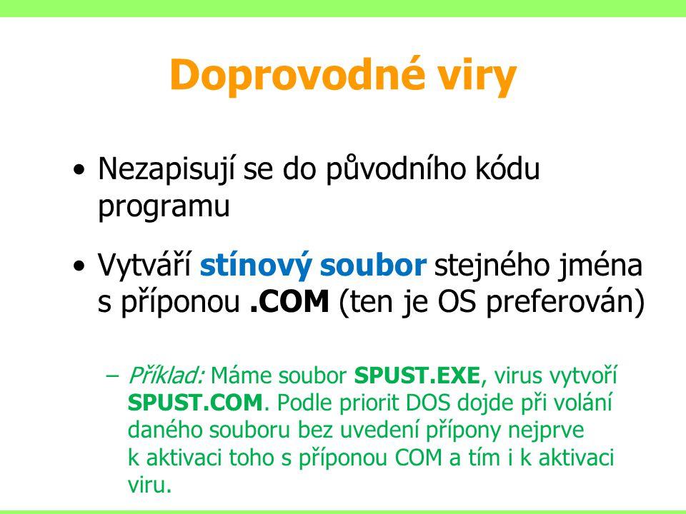 Doprovodné viry Nezapisují se do původního kódu programu