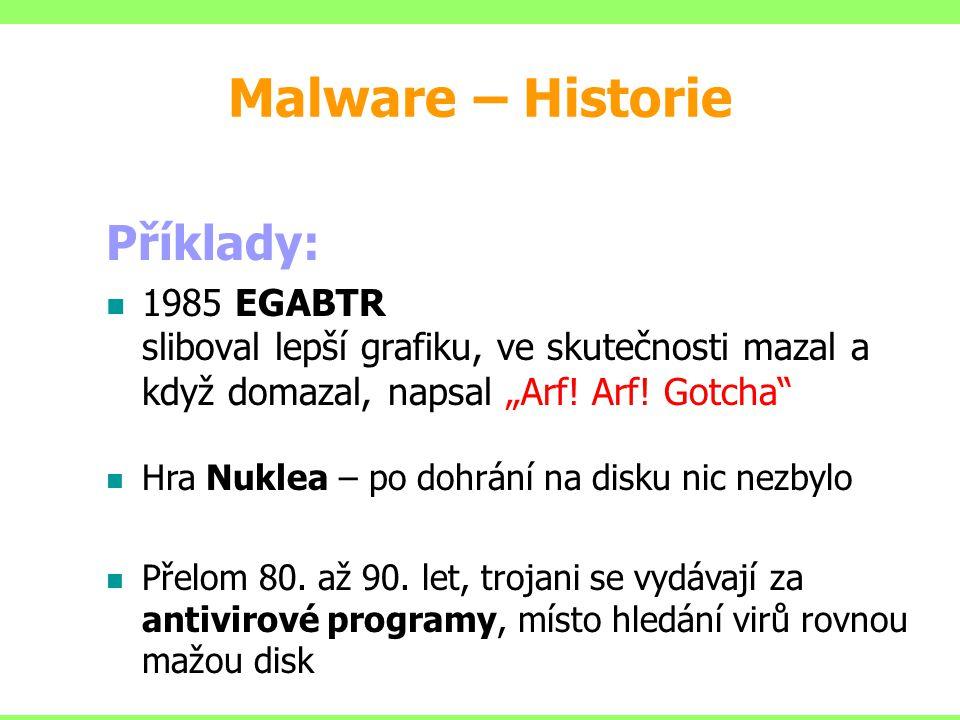 Malware – Historie Příklady: