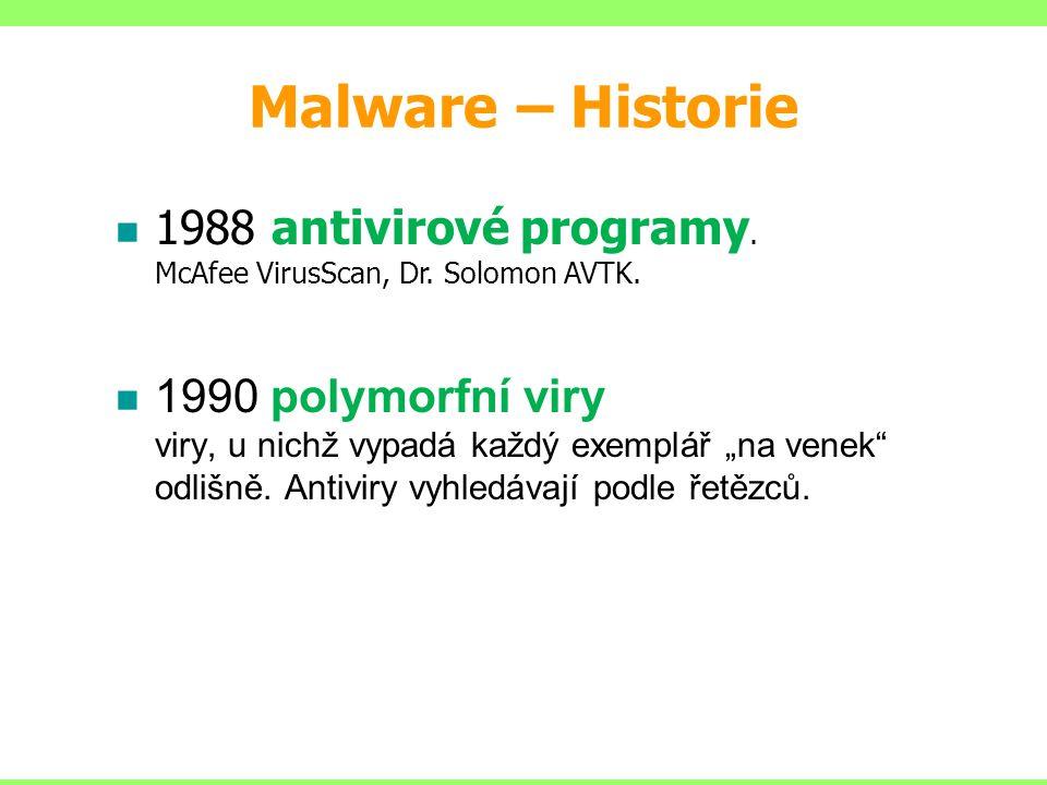 Malware – Historie 1988 antivirové programy. McAfee VirusScan, Dr. Solomon AVTK.