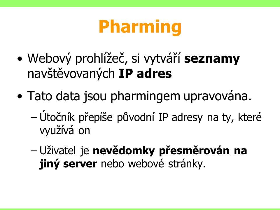 Pharming Webový prohlížeč, si vytváří seznamy navštěvovaných IP adres