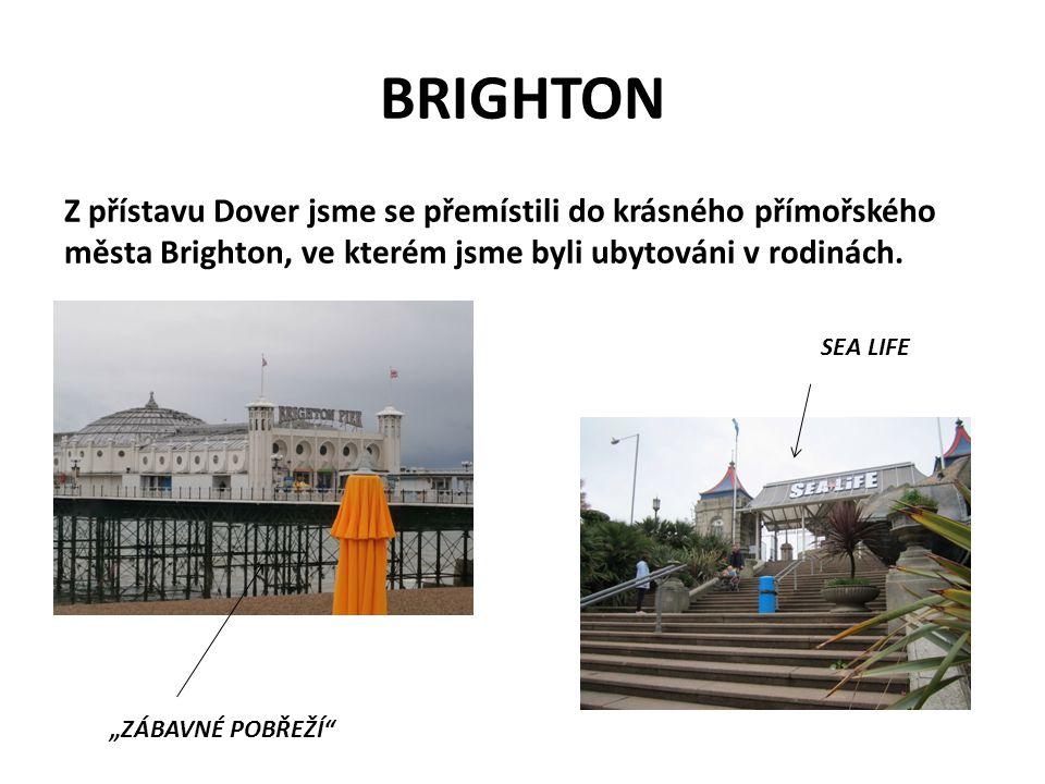 BRIGHTON Z přístavu Dover jsme se přemístili do krásného přímořského města Brighton, ve kterém jsme byli ubytováni v rodinách.
