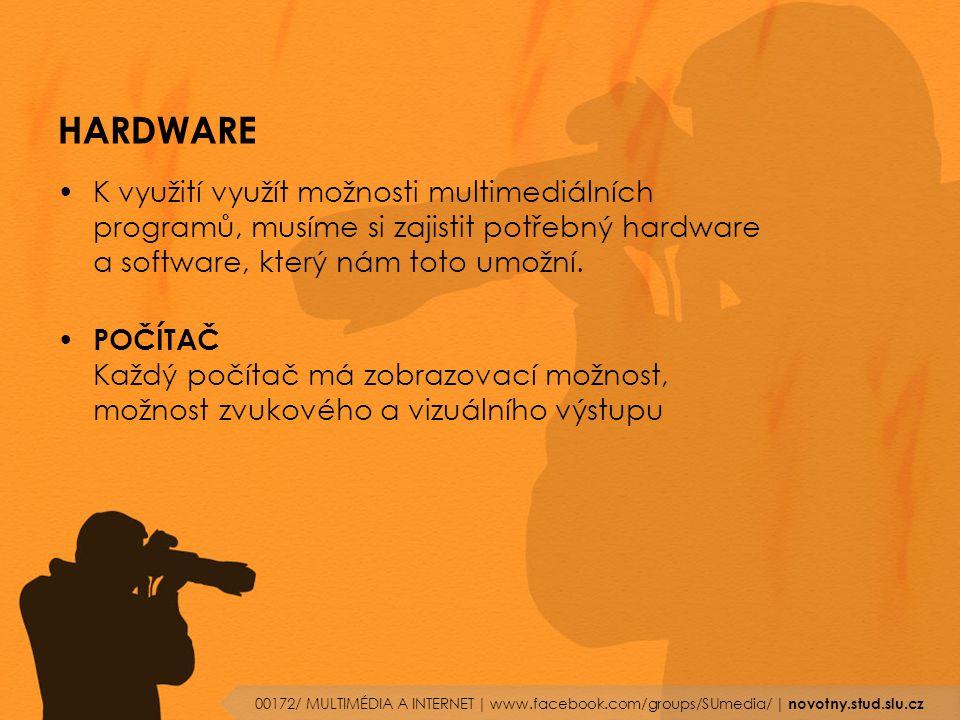 HARDWARE K využití využít možnosti multimediálních programů, musíme si zajistit potřebný hardware a software, který nám toto umožní.