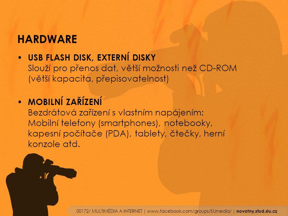 HARDWARE USB FLASH DISK, EXTERNÍ DISKY Slouží pro přenos dat, větší možnosti než CD-ROM (větší kapacita, přepisovatelnost)