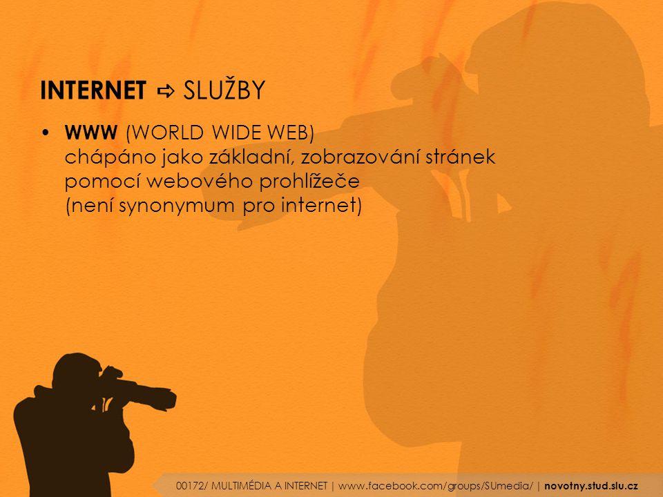 INTERNET a SLUŽBY WWW (WORLD WIDE WEB) chápáno jako základní, zobrazování stránek pomocí webového prohlížeče (není synonymum pro internet)