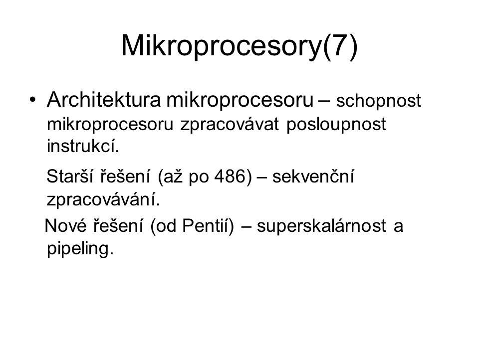 Mikroprocesory(7) Architektura mikroprocesoru – schopnost mikroprocesoru zpracovávat posloupnost instrukcí.