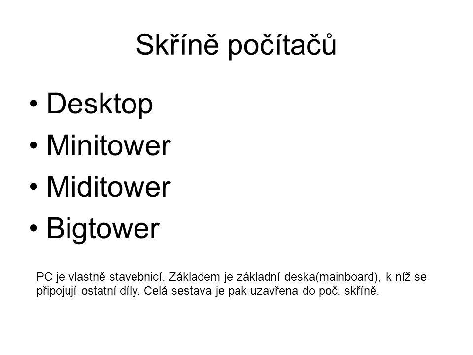 Skříně počítačů Desktop Minitower Miditower Bigtower