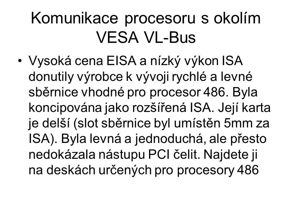 Komunikace procesoru s okolím VESA VL-Bus