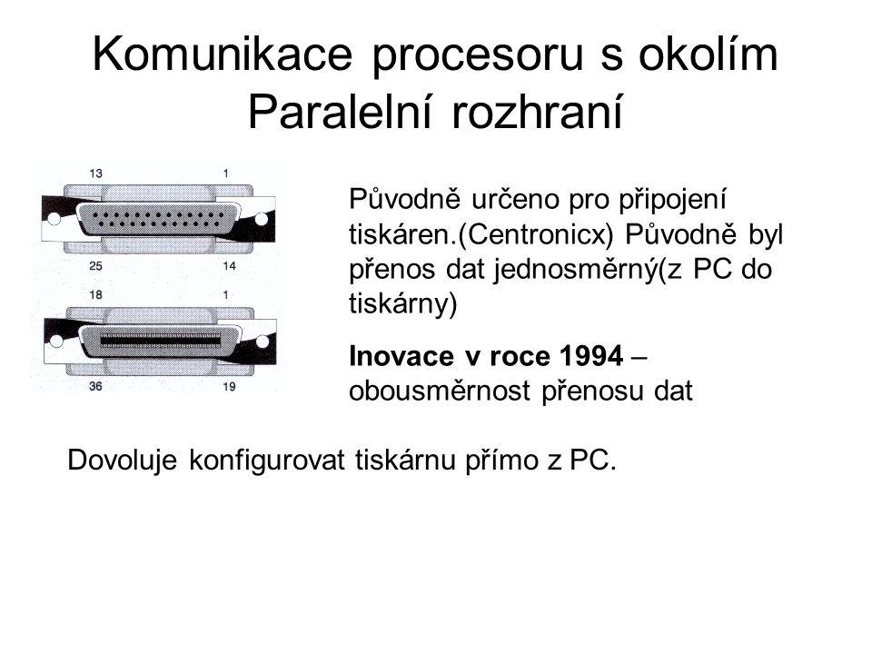Komunikace procesoru s okolím Paralelní rozhraní