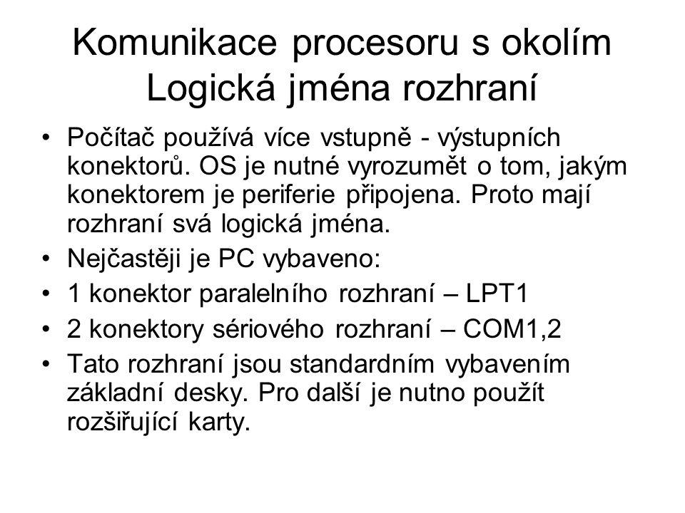Komunikace procesoru s okolím Logická jména rozhraní