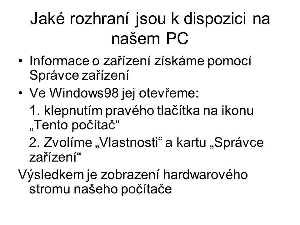 Jaké rozhraní jsou k dispozici na našem PC