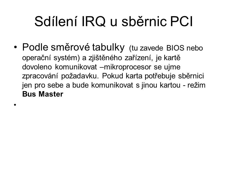 Sdílení IRQ u sběrnic PCI
