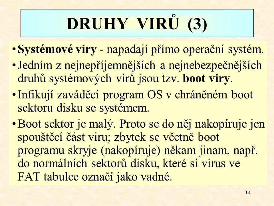 DRUHY VIRŮ (3) Systémové viry - napadají přímo operační systém.