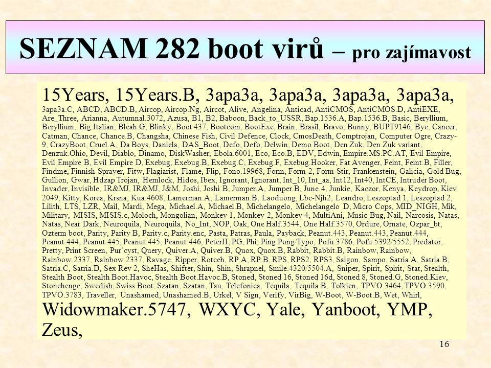 SEZNAM 282 boot virů – pro zajímavost