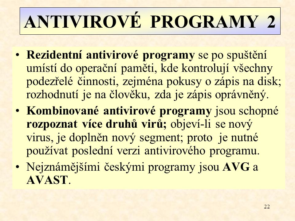 ANTIVIROVÉ PROGRAMY 2