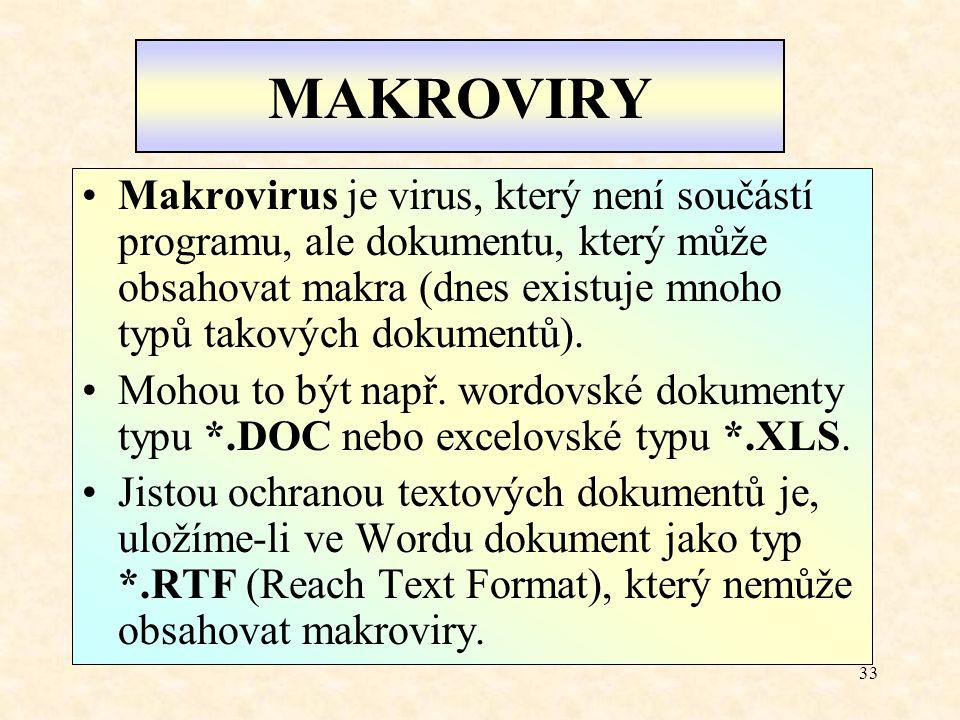 MAKROVIRY Makrovirus je virus, který není součástí programu, ale dokumentu, který může obsahovat makra (dnes existuje mnoho typů takových dokumentů).