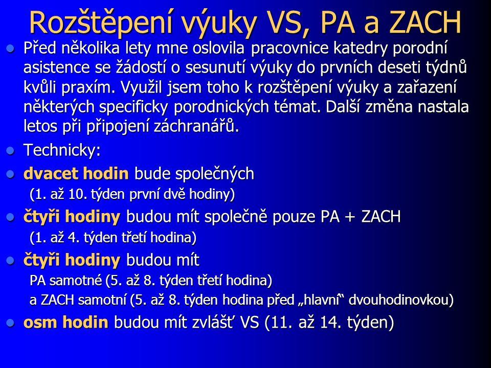 Rozštěpení výuky VS, PA a ZACH