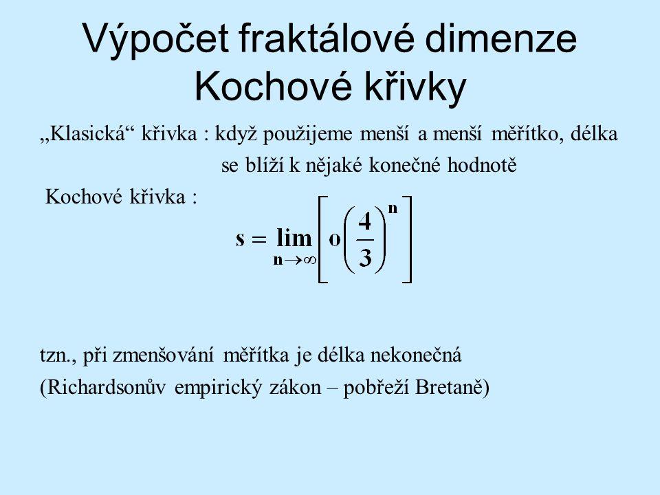 Výpočet fraktálové dimenze Kochové křivky